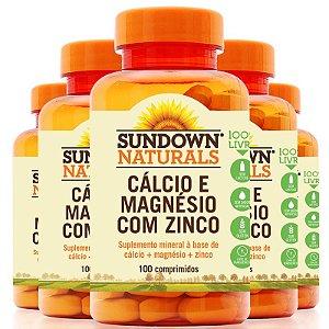 Kit 5 Cálcio magnésio e zinco Sundown 100 comprimidos