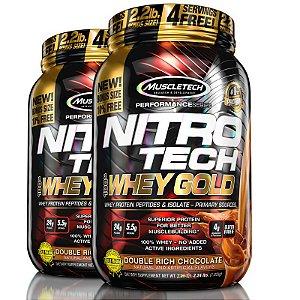 Kit 2 Nitro tech Whey Protein Gold Muscletech 997g Chocolate