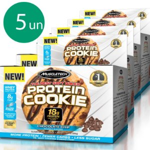 Kit 5 Protein Cookies Biscoitos proteicos da Muscletech Chocolate Chip