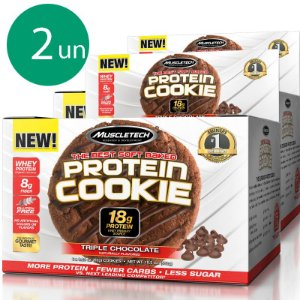 Kit 2 Protein Cookies biscoito proteico Muscletech Triple Chocolate