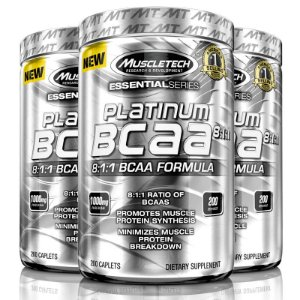 Kit 3 Platinum Bcaa 8:1:1 de 1000 mg 200 tablets Muscletech