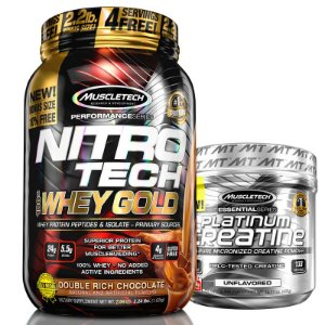Kit Nitro tech Whey e Creatina Muscletech 997g Chocolate