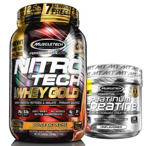 Kit Nitro tech Whey e Creatina Muscletech 997g Doce de leite