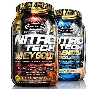 Kit Nitro tech Whey protein e Caseina Muscletech 997g