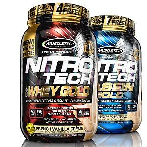 Kit Nitro tech Whey protein e Caseina Muscletech 997g Baunilha