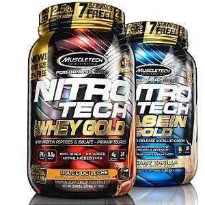 Kit Nitro tech Whey protein e Caseina Muscletech 1,1kg Doce de leite