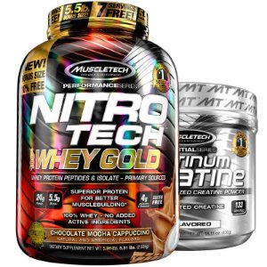 Kit Nitro tech Whey e Creatina Muscletech 2.5g Chocolate cappuccino