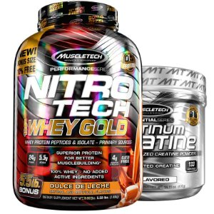 Kit Nitro tech Whey e Creatina Muscletech 2.5g Doce de leite