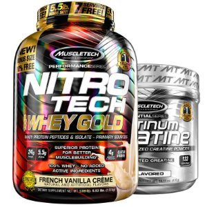 Kit Nitro tech Whey e Creatina Muscletech 2.5g Baunilha