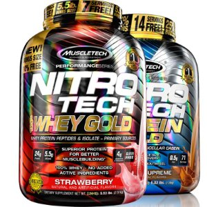 Kit Nitro tech Whey protein e Caseina Muscletech 2,5kg Morango e chocolate