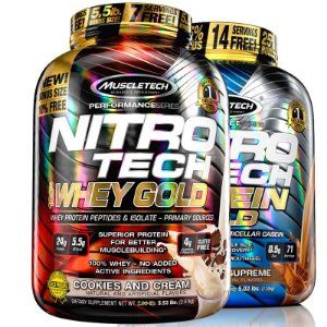 Kit Nitro tech Whey protein e Caseina Muscletech 2,5kg Cookies e Chocolate