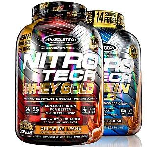 Kit Nitro tech Whey protein e Caseina Muscletech 2,5kg Doce de leite e Chocolate
