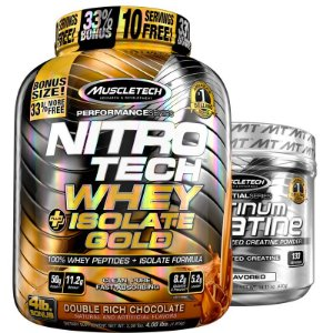 Kit Nitro tech Whey isolado e Creatina Muscletech 1,8kg Chocolate