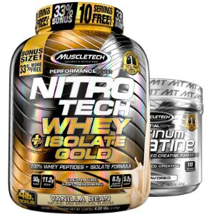Kit Nitro tech Whey isolado e Creatina Muscletech 1,8kg Baunilha