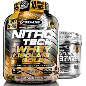 Kit Nitro tech Whey isolado e Creatina Muscletech 1,8kg Cookies