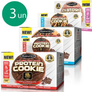 Kit 3 Protein Cookies biscoito proteico Muscletech Sabores diversos