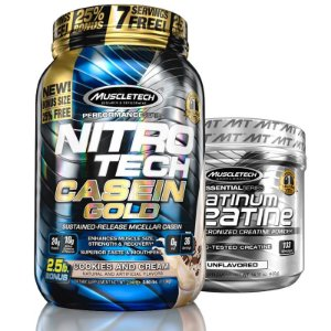 Kit Nitro tech Whey e Creatina Muscletech 1.2kg Cookies