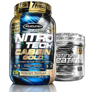Kit Nitro tech Caseína e Creatina Muscletech 1.2kg Baunilha