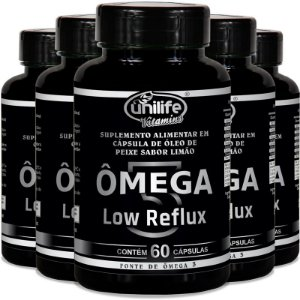Kit 5 Ômega 3 - Low Reflux - Sabor limão  - 60 cápsulas