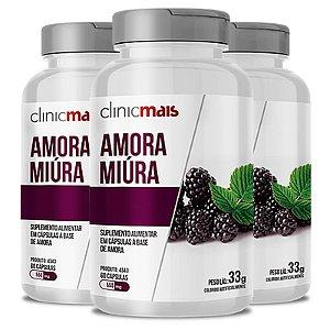 Kit 3 Amora Miura 500mg ClinicMais 60 cápsulas