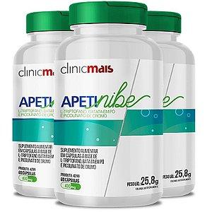 Kit 3 APETINIBE L-Triptofano 450mg ClinicMais 60 cápsulas