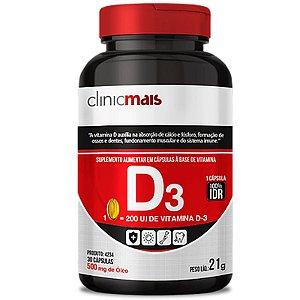 Vitamina D3 500mg ClinicMais 60 cápsulas