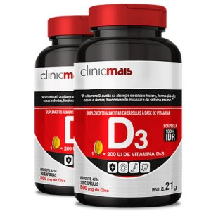 Kit 2 Vitamina D3 500mg ClinicMais 60 cápsulas