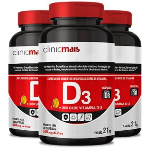 Kit 3 Vitamina D3 500mg ClinicMais 60 cápsulas