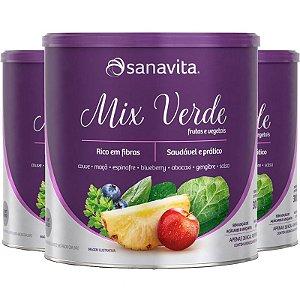 Kit 3 Mix Verde Bebida Frutas e Vegetais Sanavita 300g