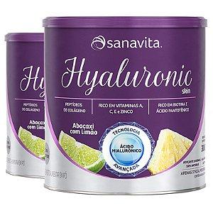 Kit 2 Hyaluronic Ácido Hialurônico Colágeno Skin da Sanavita abacaxi com limão 270g