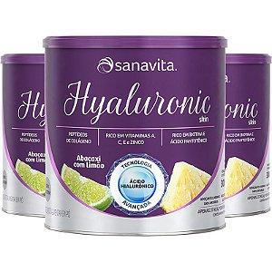Kit 3 Hyaluronic Ácido Hialurônico Colágeno Skin da Sanavita abacaxi com limão 270g