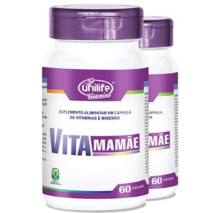 Kit 2 Vita Mamãe Complexo polivitamínico 60 cápsulas Unilife