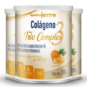 Kit 3 Colágeno tipo 2 + 1 Verisol Trio complex Apisnutri tangerina 200g