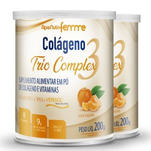 Kit 2 Colágeno tipo 2 + 1 Verisol Trio complex Apisnutri tangerina 200g