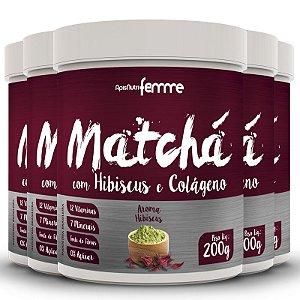 Kit 5 Matchá Solúvel Apisnutri Sabor Hibiscus 200g