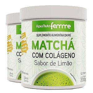 Kit 2 Matchá Solúvel Apisnutri Sabor Limão 200g