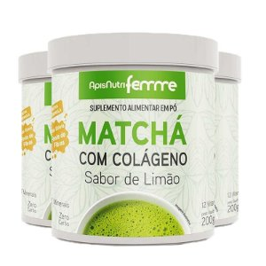 Kit 3 Matchá Solúvel Apisnutri Sabor Limão 200g