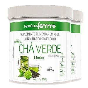 Kit 2 Chá Verde Solúvel Limão Apisnutri 200g