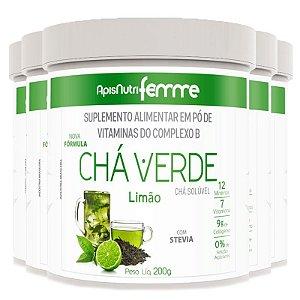 Kit 5 Chá Verde Solúvel Limão Apisnutri 200g