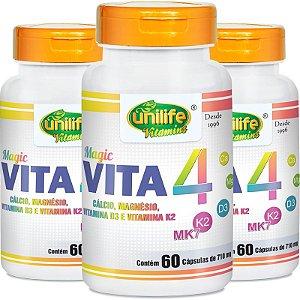 Kit 3 Vita 4 Cálcio Magnésio Vitamina D e K2 Unilife 60 Cápsulas