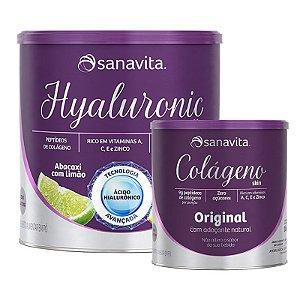 Kit colágeno hidrolisado + ácido hialurônico Sanavita