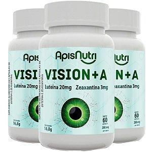 Kit 3 Vision+A Luteína e Zeaxantina 60 cápsulas 280mg Apisnutri