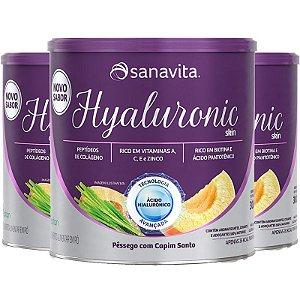 Kit 3 Hyaluronic Skin Ácido Hialurônico + Colágeno Sanavita Pêssego 300g