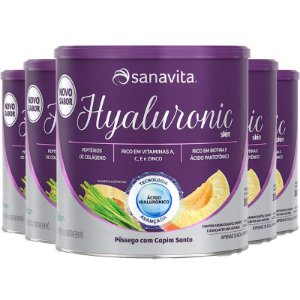 Kit 5 Hyaluronic Skin Ácido Hialurônico + Colágeno Sanavita Pêssego 300g
