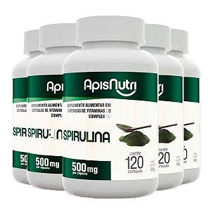Kit 5 Spirulina Espirulina 500mg Apisnutri 120 comprimidos
