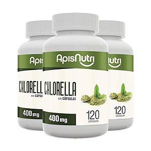 Kit 3 Chlorella Clorela Apisnutri 120 cápsulas