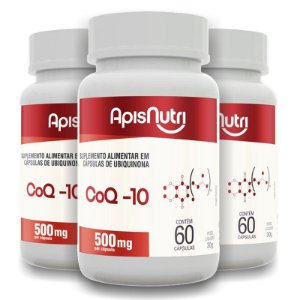 Kit 3 Coenzima Q-10 500mg Apisnutri 60 cápsulas
