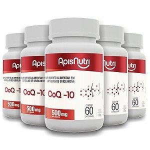 Kit 5 Coenzima Q-10 500mg Apisnutri 60 cápsulas