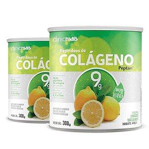 Kit 2 Colágeno Hidrolisado Peptan 9g Clinic Mais Limão Siciliano