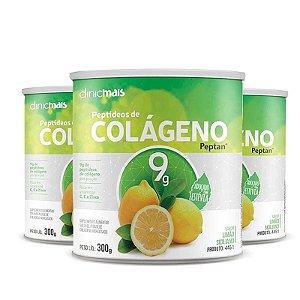 Kit 3 Colágeno Hidrolisado Peptan 9g Clinic Mais Limão Siciliano